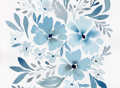 watercolor floral wall print