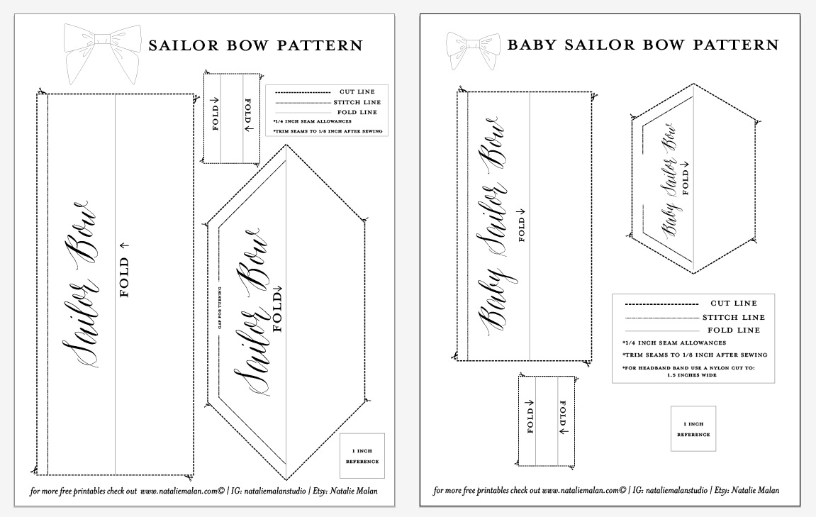 template of a bow - diy sailor bow tutorial and free pattern natalie malan