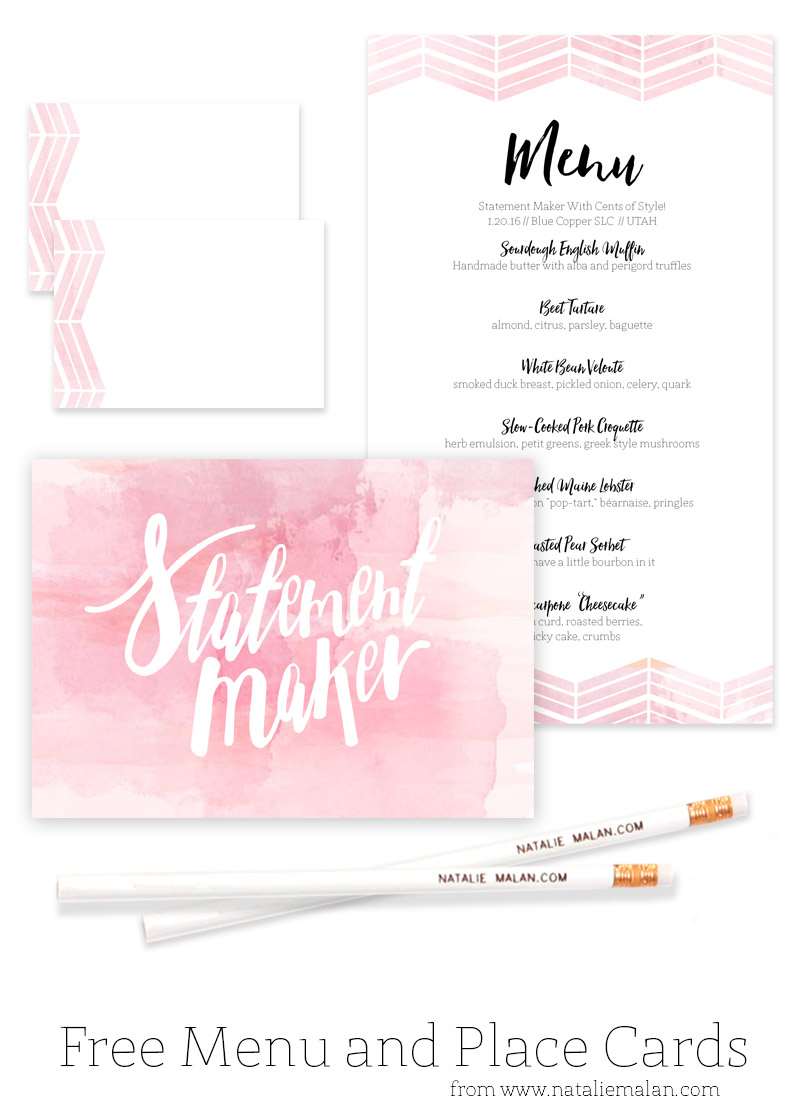 Alt Dinner Free Watercolor Menu And Place Cards Natalie Malan - Place card maker