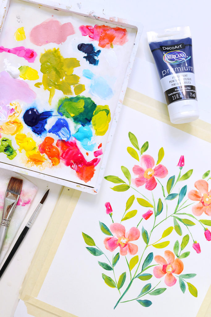 DIY Watercolor tutorial Acrylic florals video painting
